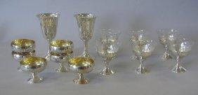 20: 12 Sterling & Etched Glass Sherbets + 2 Goblets