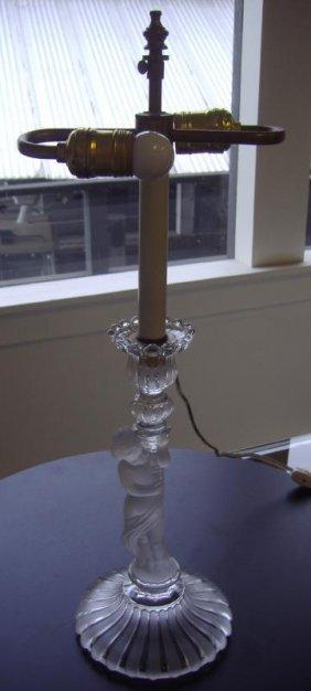 21: Baccarat Male Figural Candlestick Holder Lamp
