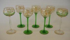 23: Seven Bohemian Gilt Enameled Wine Goblets
