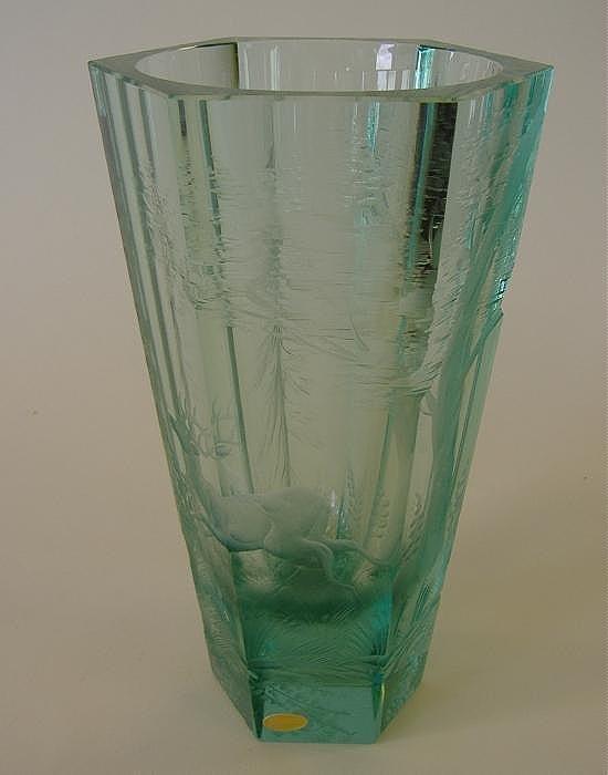 24: Moser Intaglio Cut Glass Vase, Artist Signed