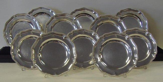 40: 11 George V Sterling Silver Dinner Plates, Crested