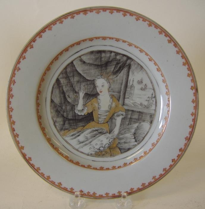 """69: Chinese Porcelain Grisaille Plate """"The Seamstress"""""""