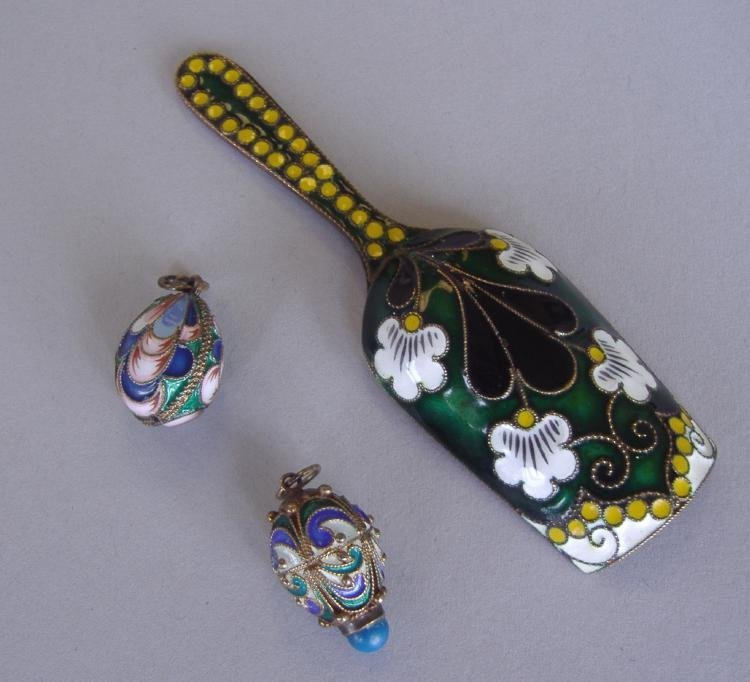 4: Russian Silver & Enamel Sugar Scoop, 2 Egg Charms