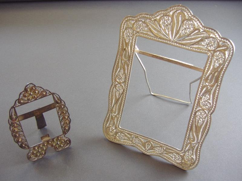 9: 2 Persian Silver Filigree Frames