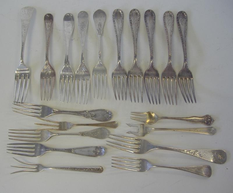 14: American Sterling Silver Forks, Various Makers