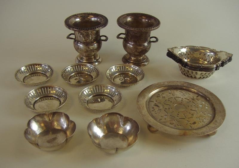 19: Sterling Nut Dishes, Toothpick Holders, Trivet