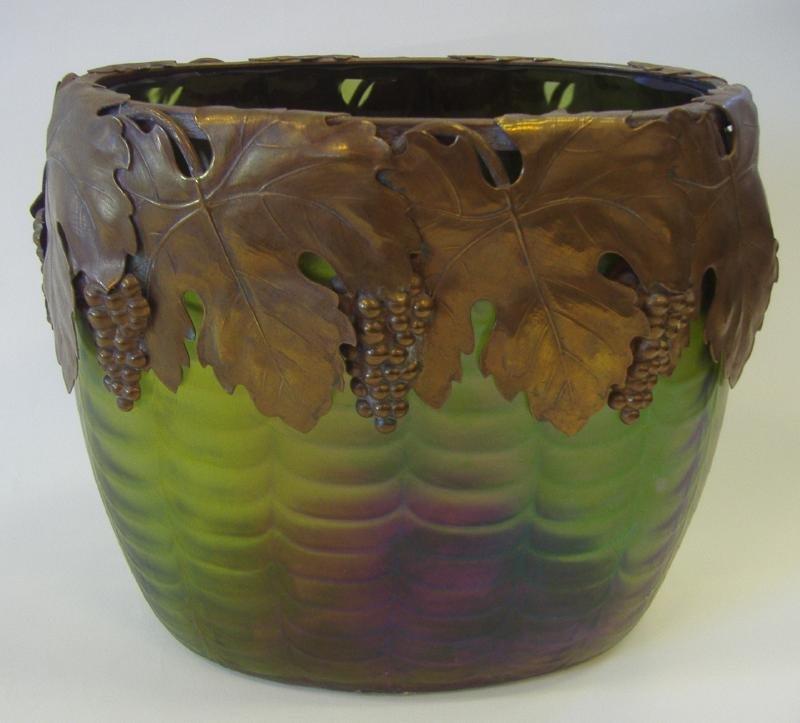 1: Loetz Art Glass Vase with Copper Grape Leaf Rim
