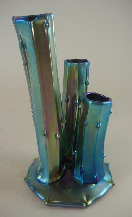 2: Carder Steuben Blue Aurene Stump Vase, signed