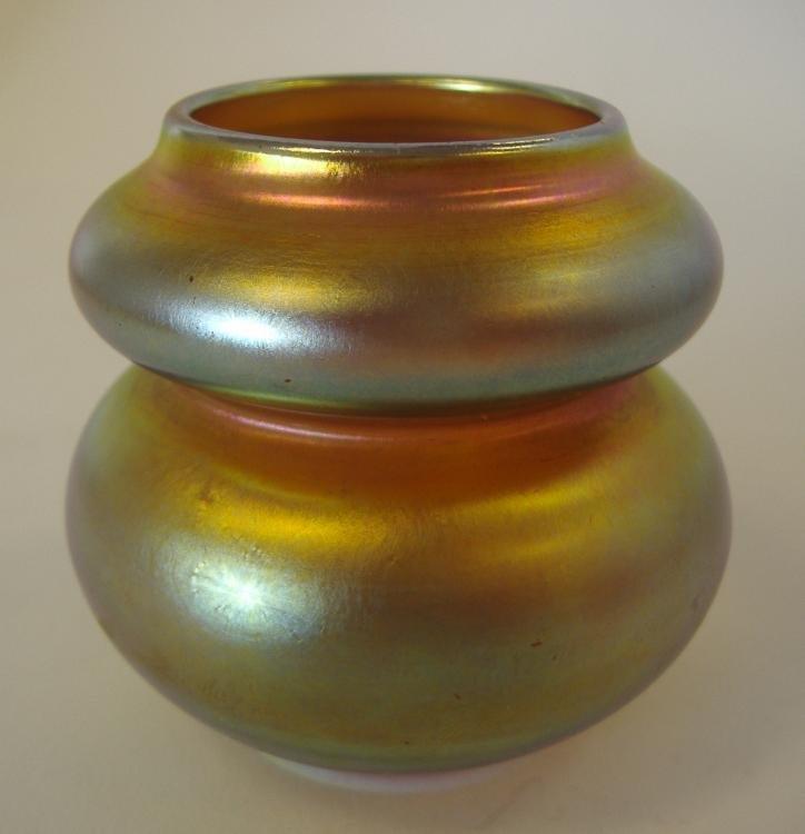 4: Steuben Aurene Double Gourd Art Glass Vase, signed