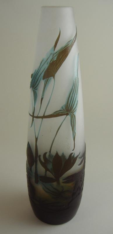 6: Emile Galle Cameo Glass Vase or Lamp Base