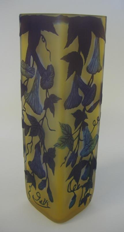 7: Emile Galle Cameo Glass Vase, Trumpet Flowers
