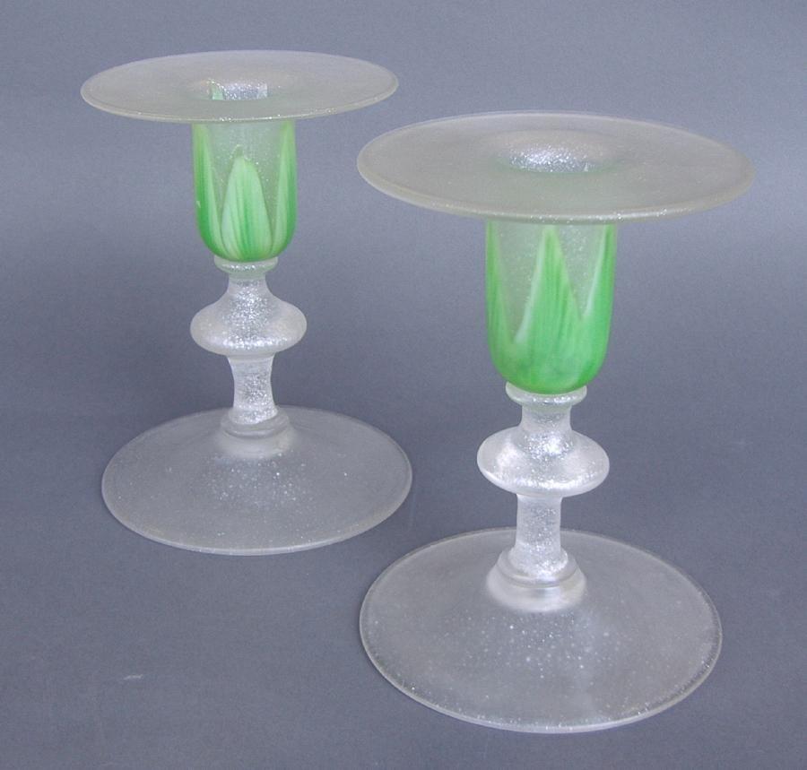 12: Rare Steuben Green Florentia Glass Candlesticks