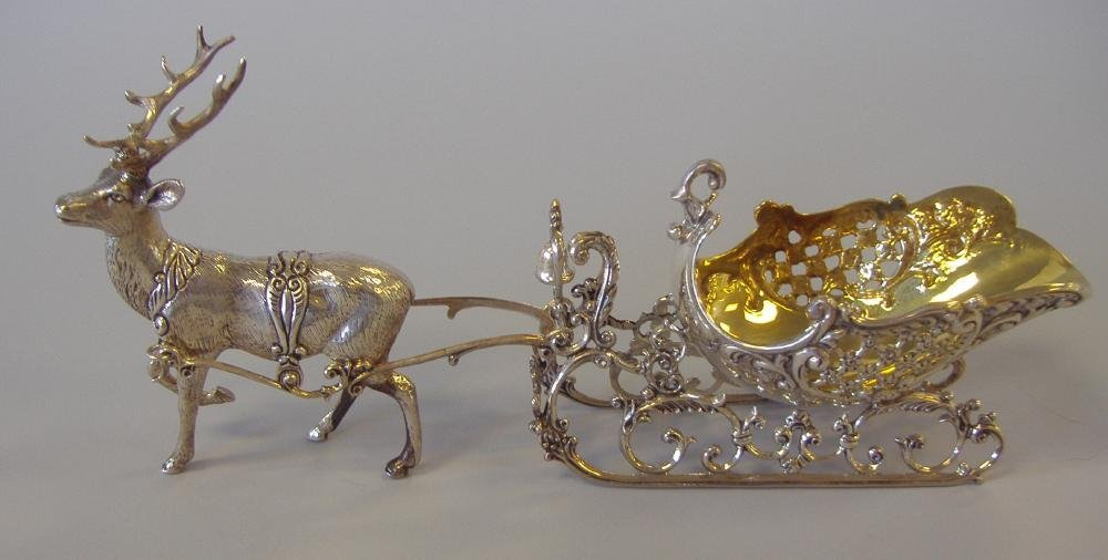 1: German Sterling Silver Reindeer Drawn Sleigh