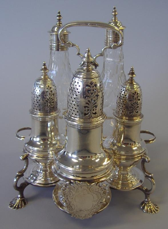 4: Samuel Wood Sterling Silver Cruet Set, London 1743