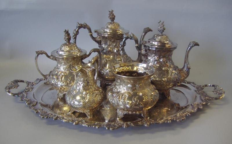 6: Conrad Bard Coin Silver Coffee & Tea Service