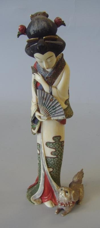 9: Chinese Carved Polychrome Ivory Figure of a Geisha