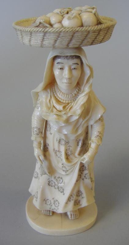 10: 19thc Carved Ivory Female Figure with Fruit Basket