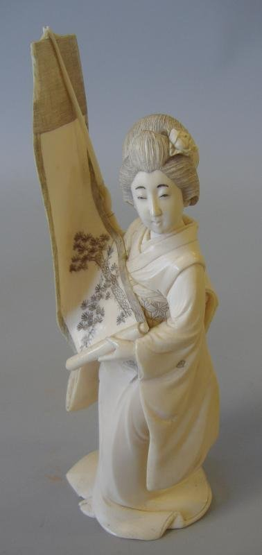 11: Carved Ivory Figure of a Geisha with Scroll, sgnd