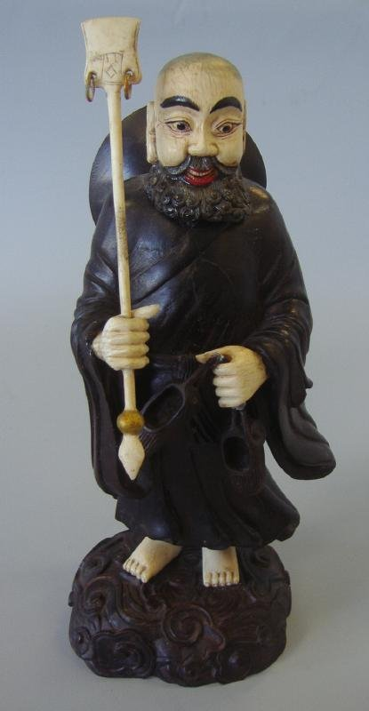 12: 19thc Chinese Carved Wood & Ivory Scholar