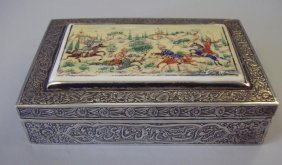 Persian Silver & Ivory Box, Painted Scene, Signed