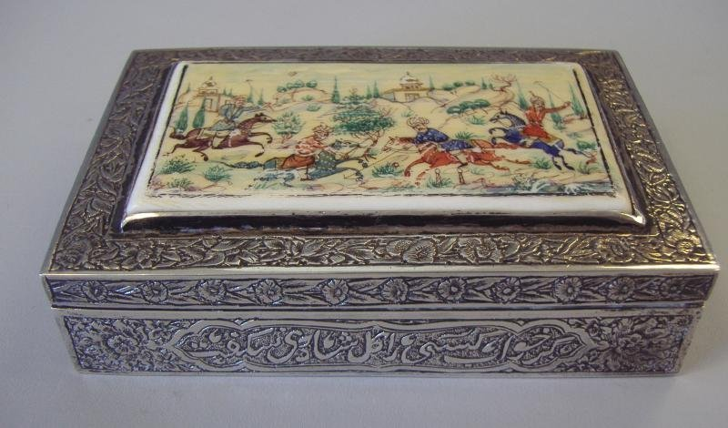 3: Persian Silver & Ivory Box, Painted Scene, Signed