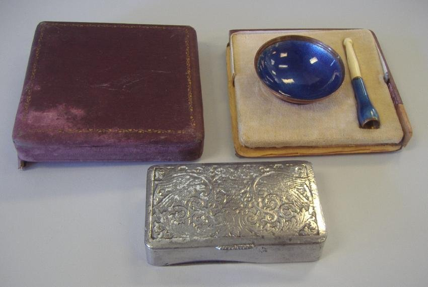 4: Guilloche Enamel Tray, Cigarette Holder & Box
