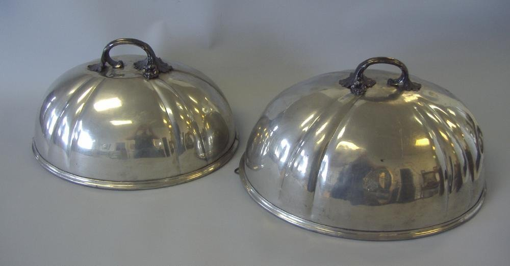 9: Shaw & Fisher Sheffield Silver Food Dome 2 Domes