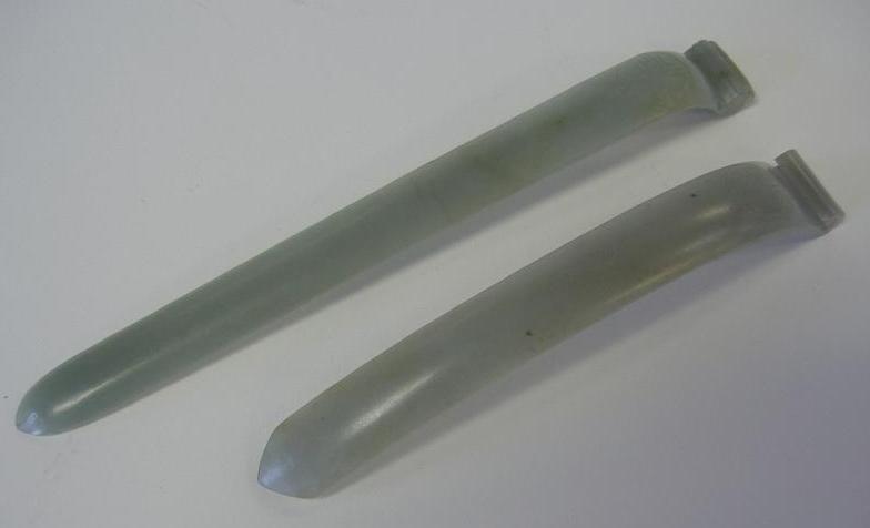 10A: 2 Chinese Jade Hair Pins, Shou Character Hairpins