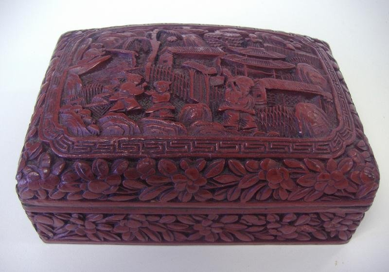 15: Chinese Cinnabar Lacquer Box, Signed