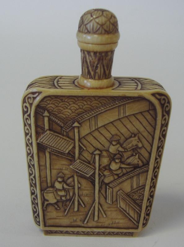 17: 18thc Japanese Carved Ivory Snuff Bottle, Signed