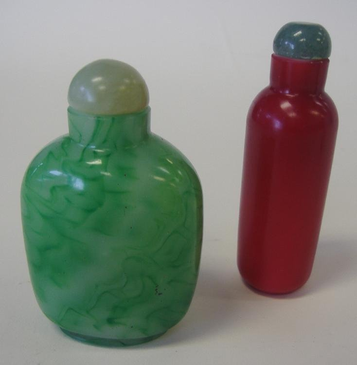 19: 2 Chinese Glass Snuff Bottles, 19thc.