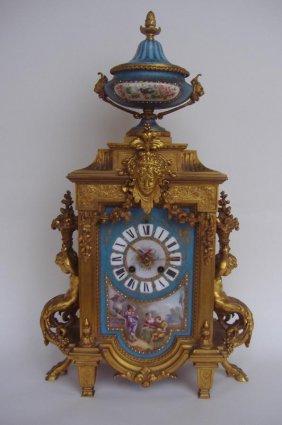 51: Sevres Porcelain & Gilt Bronze Clock, Japy Freres