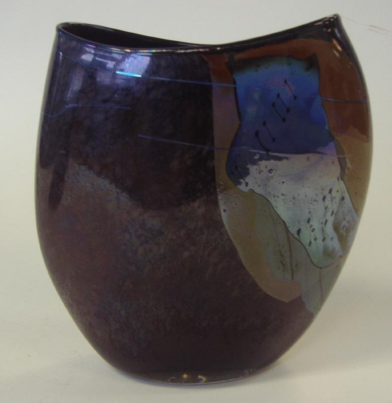 2: William Morris Artifact Glass Vessel Vase, signed