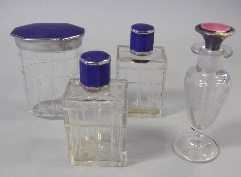 7: Art Deco Guilloche Enamel & Glass Perfume Bottles