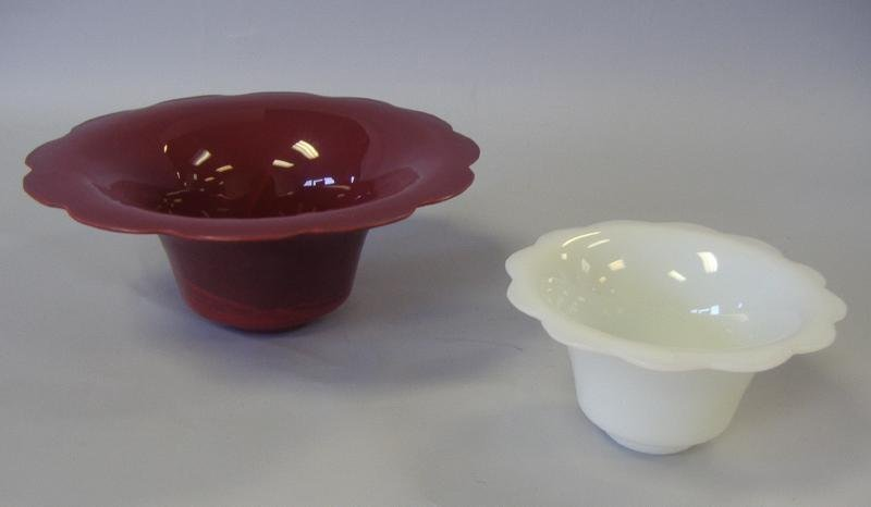 13: 2 Chinese Peking Glass Maroon & White Bowls