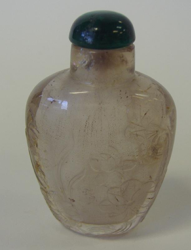 17: Chinese Agate Snuff Bottle with Carved Florals
