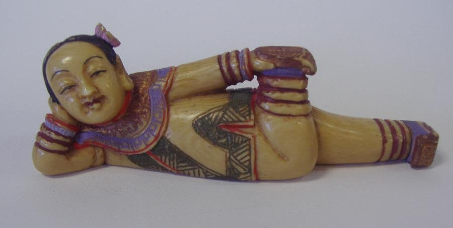 19: Chinese Polychrome Ivory Figural Snuff Bottle Sgnd