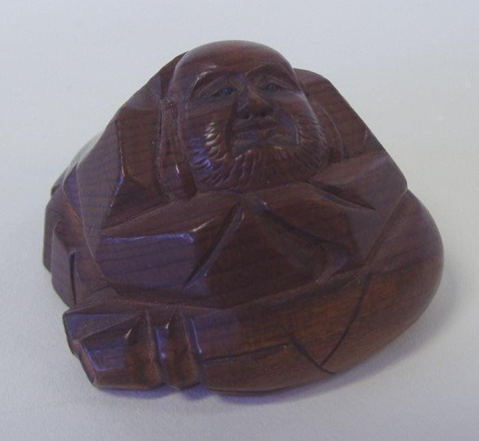 21: Chinese Carved Boxwood Netsuke of Buddha, signed