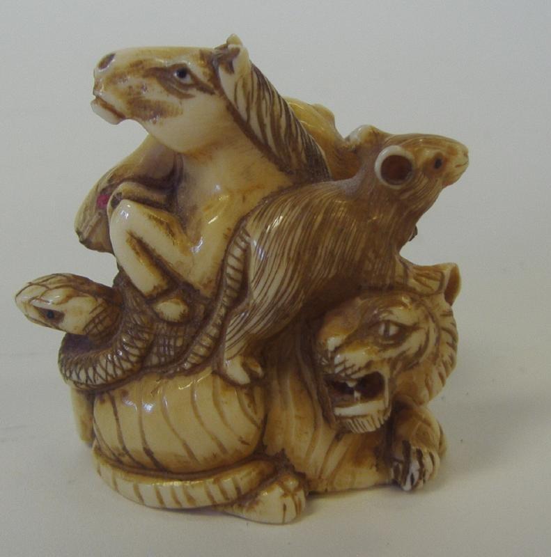 22: Japanese Carved Ivory Multi Animal Netsuke, signed