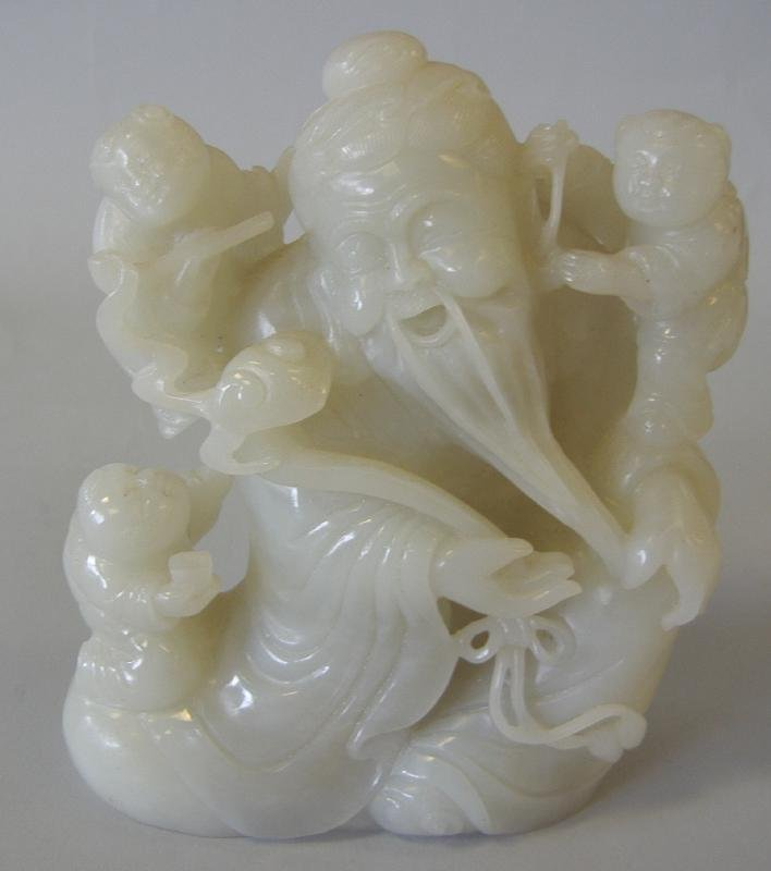 39: Chinese Carved White Jade Figural Group
