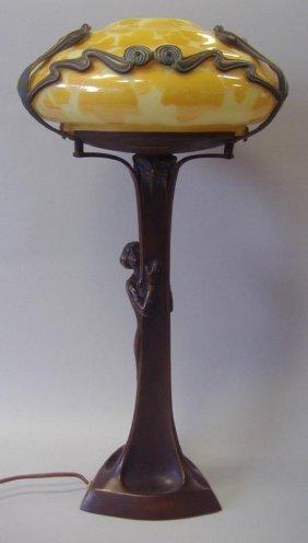 5: Art Nouveau Style Bronze Female Figural Lamp