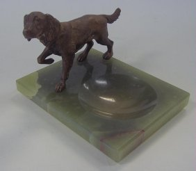 6: Art Deco Bronzed Metal Pointer Dog on Onyx Tray