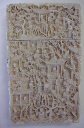 9: Antique Chinese Carved Ivory Card Case, Signed