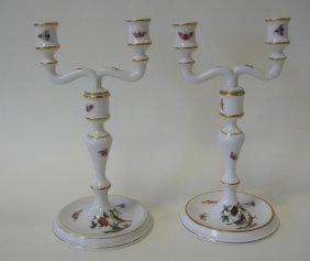 15: Pair of Herend Porcelain 2 Light Candelabra