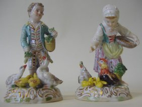 "Two Dresden Porcelain Figurines,  ""Feeding Time"""