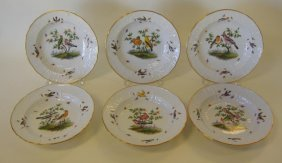 18: 6 Meissen Porcelain Bowls Rothschild Bird Pattern