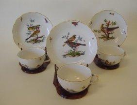 19: 3 Meissen Porcelain Cups & Saucers Rothschild Bird