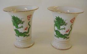 23: Pair of Meissen Porcelain Ming Dragon Vases