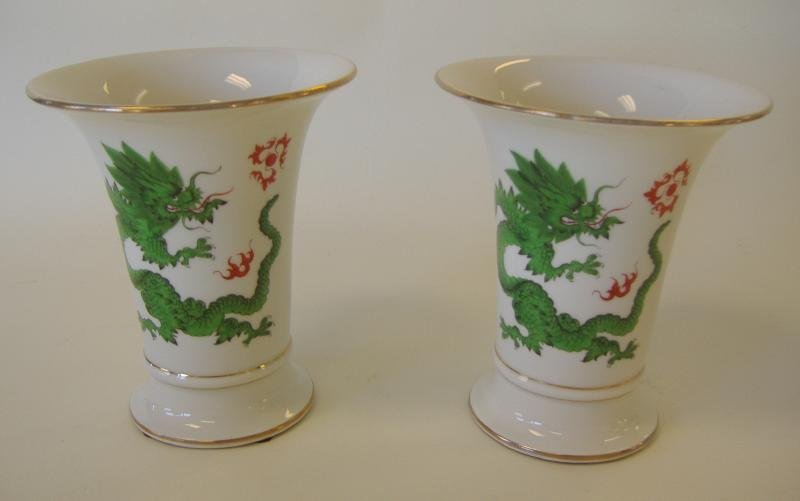 23: Pair of Meissen Porcelain Ming Dragon Vases