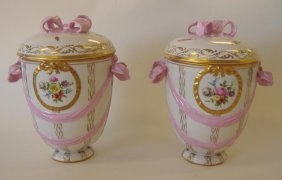 24: Pair of KPM Porcelain Covered Urns, 19th Century